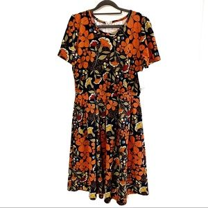 LulaRoe Amelia Orange Floral Dress